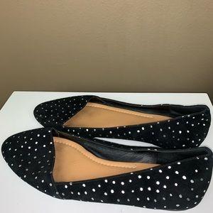 LUCKY BRAND | Black Gold Polka Dot Flats 10